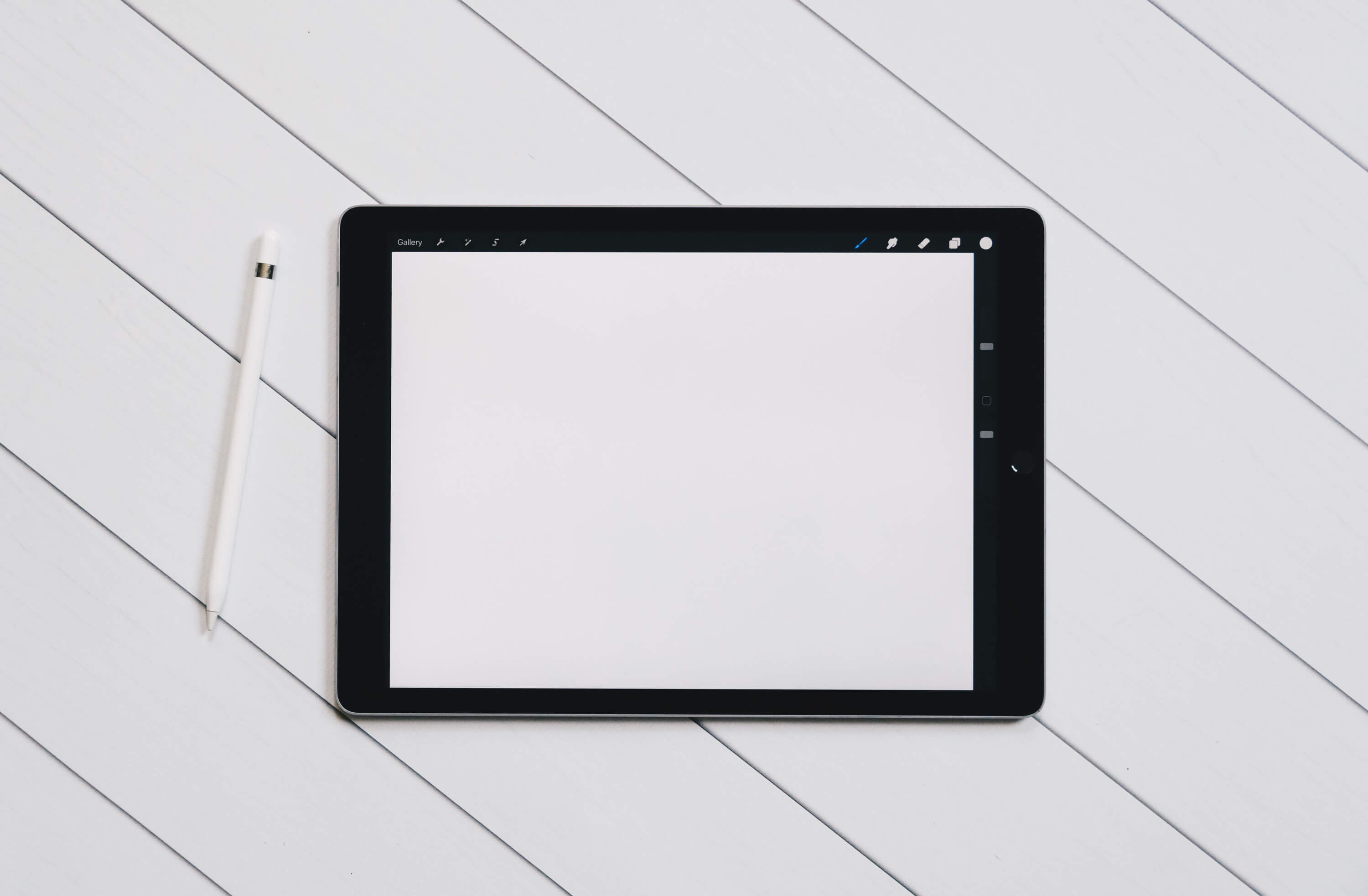 Tablet on white surface