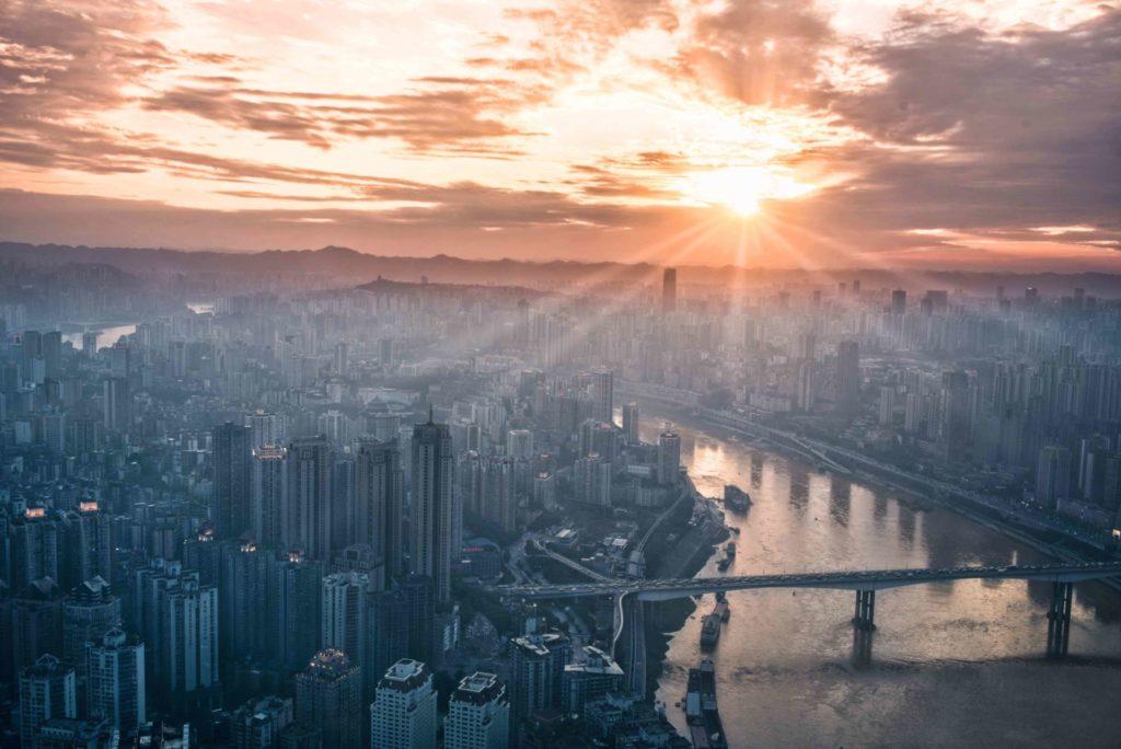 Sunrise over big city